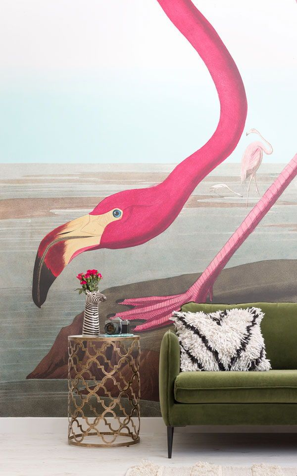 Pink Flamingo Wallpaper Mural | Maximalism, Living rooms and Room