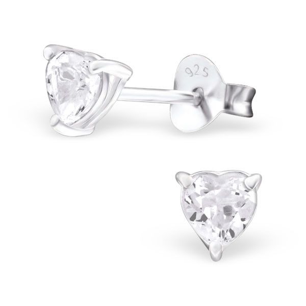 17adc0395 White Topaz Heart Real Sterling Silver Stud Earrings | Spoilurself