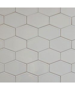 Gray Ceramic Stretched Hex Tile Silver Fox 5x3 | Modwalls Designer Tile