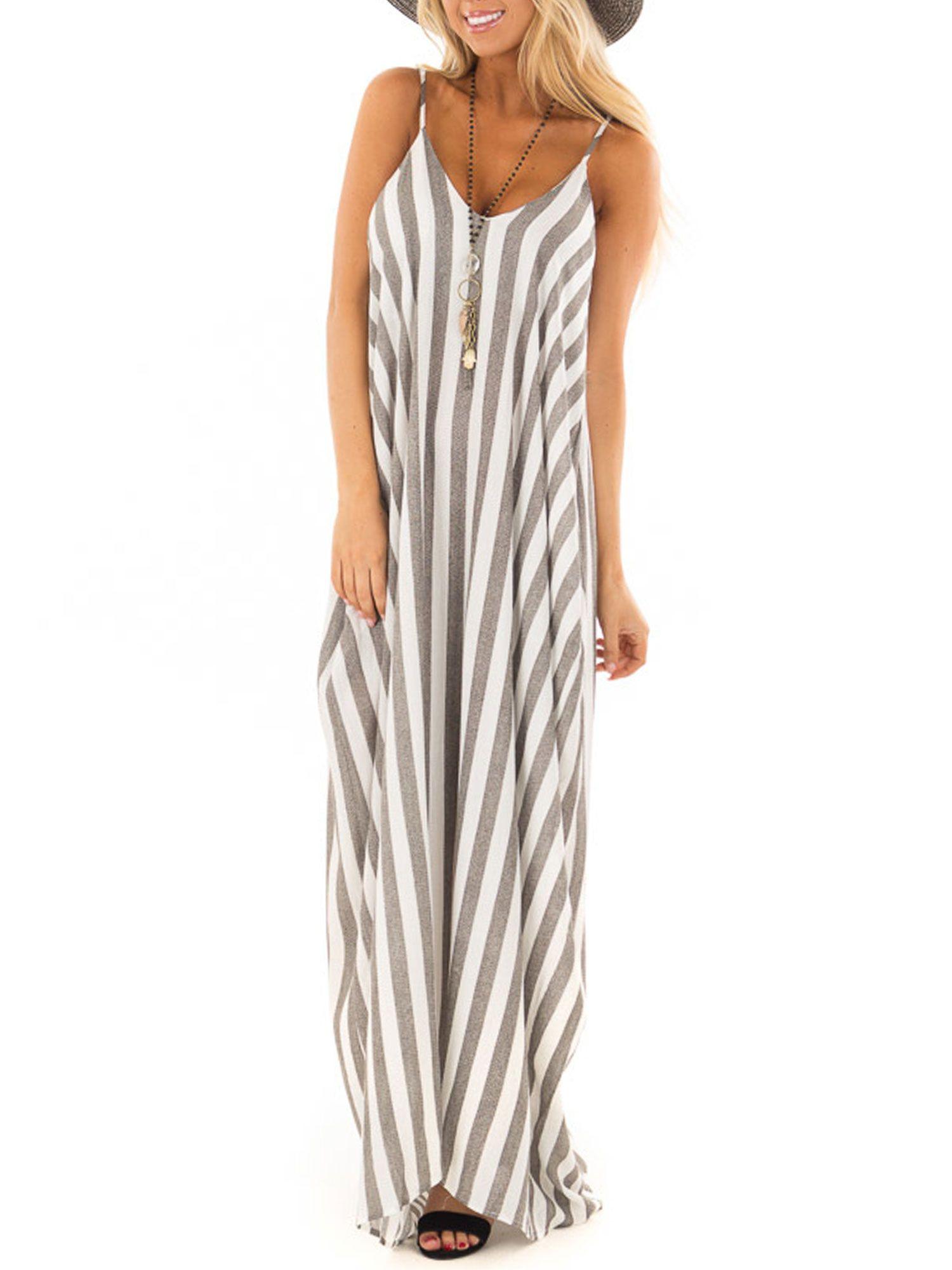 Himone Summer Holiday Women Strappy Cami Striped Long Boho Dress Ladies Beach Maxi Sundress Walmart Com Maxi Dress Evening Summer Dresses Beach Dresses [ 2000 x 1500 Pixel ]