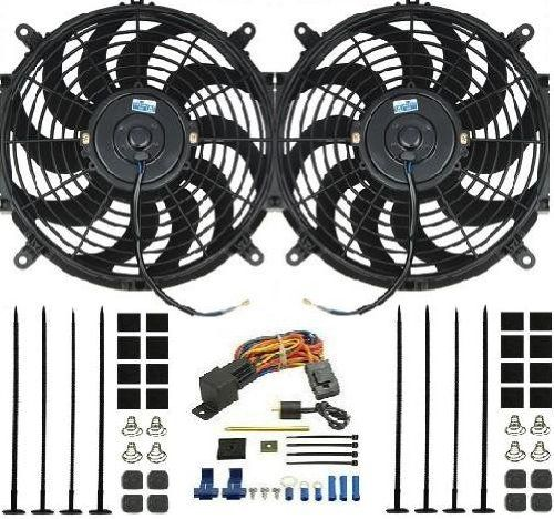 Procomp Dual 12 Inch Electric Fan W Derale Thermostat Relay Kit
