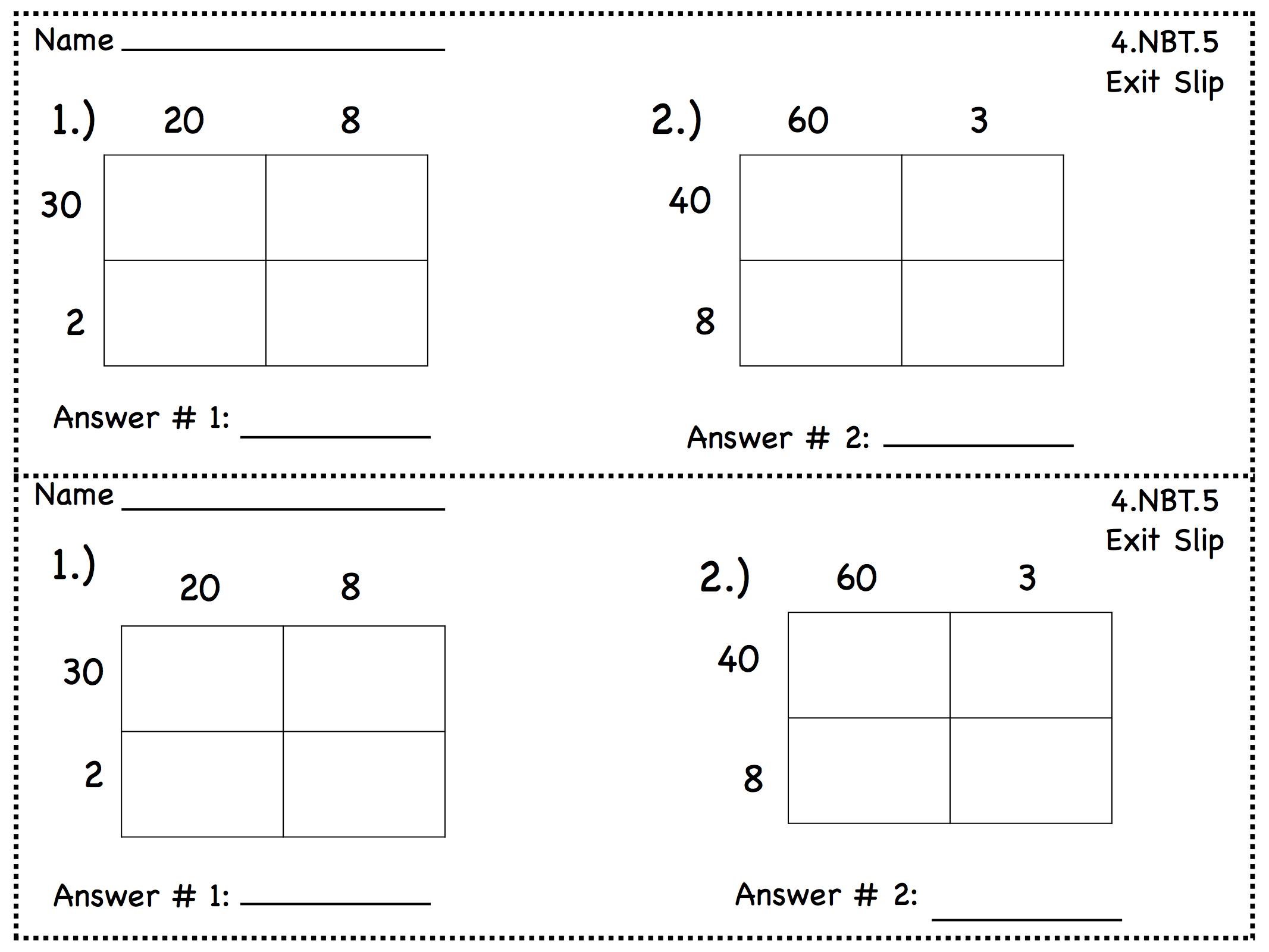 Multiplication Exit Slips