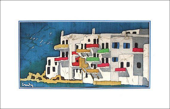 Art Painting  Mykonos Island Greece  Original by AnthisBatikArt