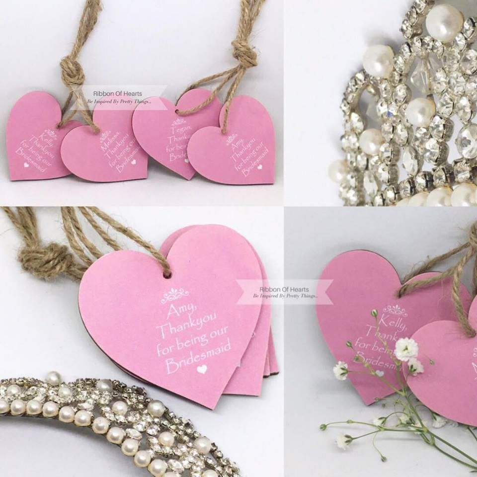 Bridesmaid Gift Thankyou Personalised Wooden Heart Wedding Hanging
