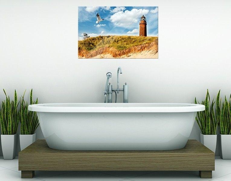 Glasbild Düne mit Leuchtturm | Badezimmer | Glasbilder, Leuchtturm ...