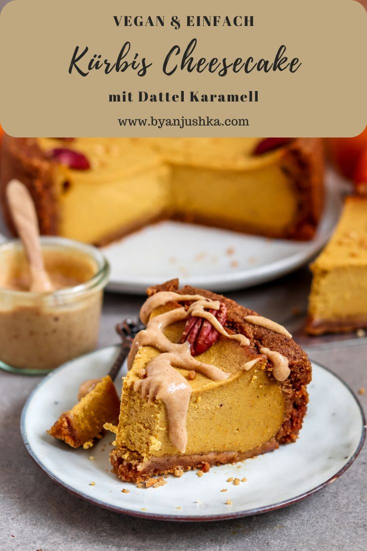 Kürbis Cheesecake mit Dattel Karamell | vegan
