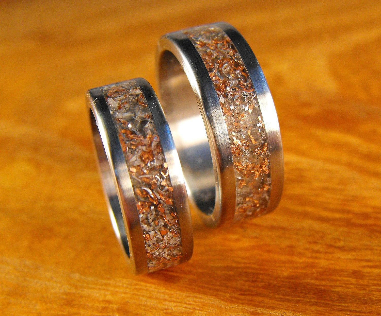 Anium Wedding Band Set Custom Engraved Junk Rings By Robandlean 255 00 Usd Via Etsy