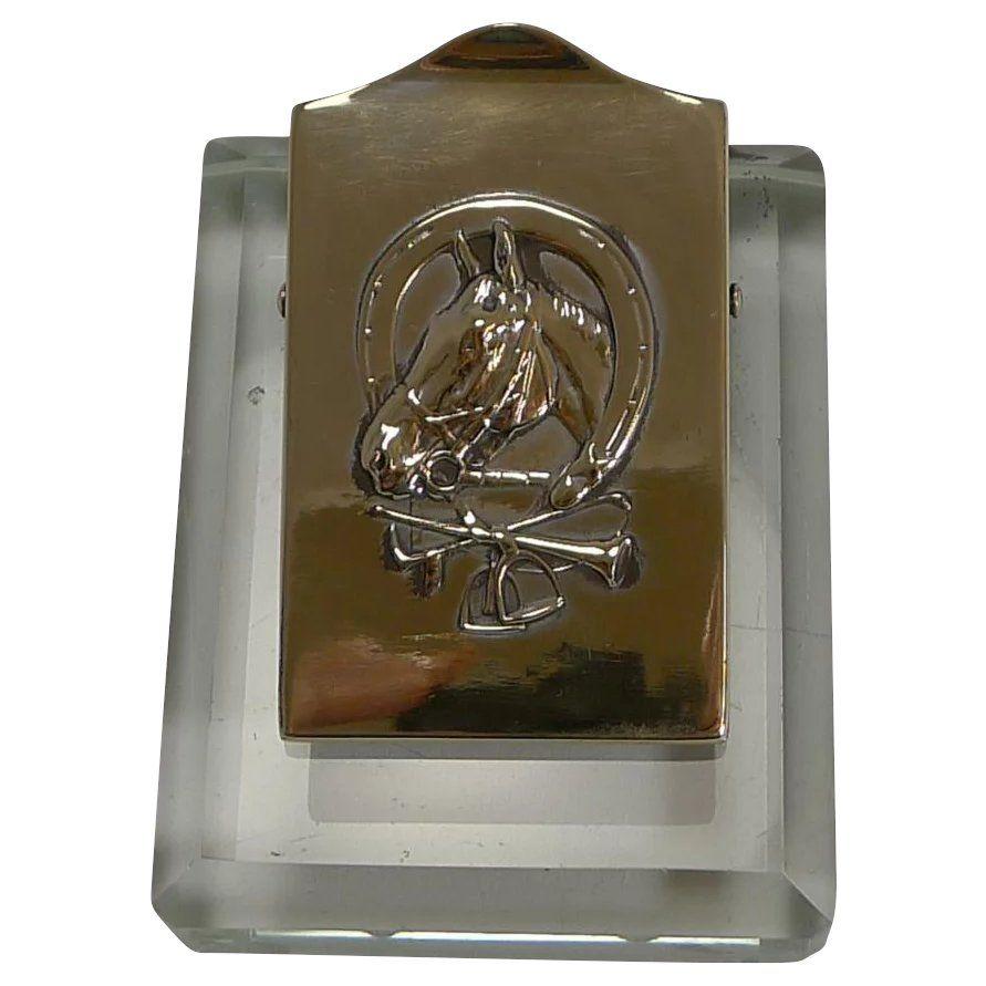 Astounding Equestrian Brass And Glass Desk Letter Clip C 1910 Beutiful Home Inspiration Xortanetmahrainfo