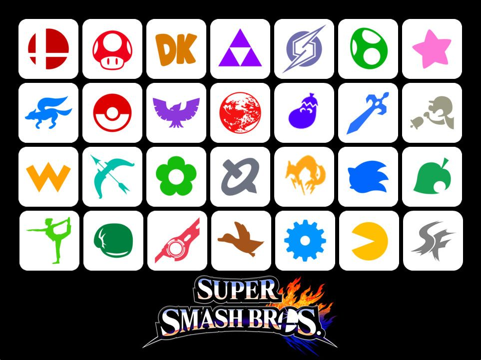 All Of Series Symbols Representing The Characters In Ssb Arranged From 64 To Smash 4 64 Super Smash Super Smash Bros Party Smash Bros Funny Super Smash Bros