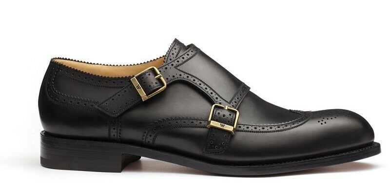 Handmade Men's Leather Black Monk Strep Stylish Classic