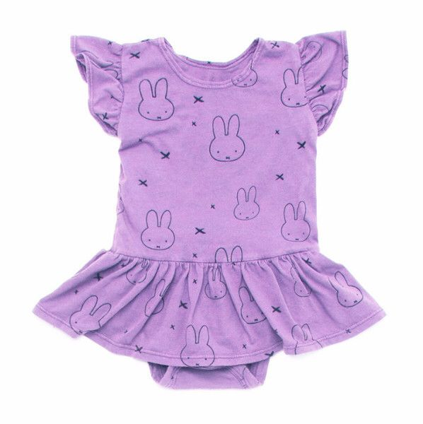 Miffy Print Onesie Dress in Purple
