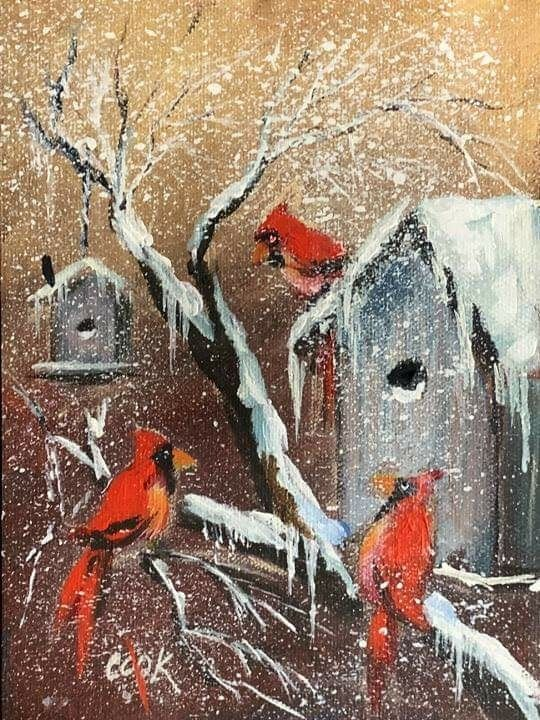 Winter Cardinals And Birdhouses A Ginger Cook Youtube Acrylic Painting Tutorial Painting Tutorial Canvas Painting Tutorials Painting