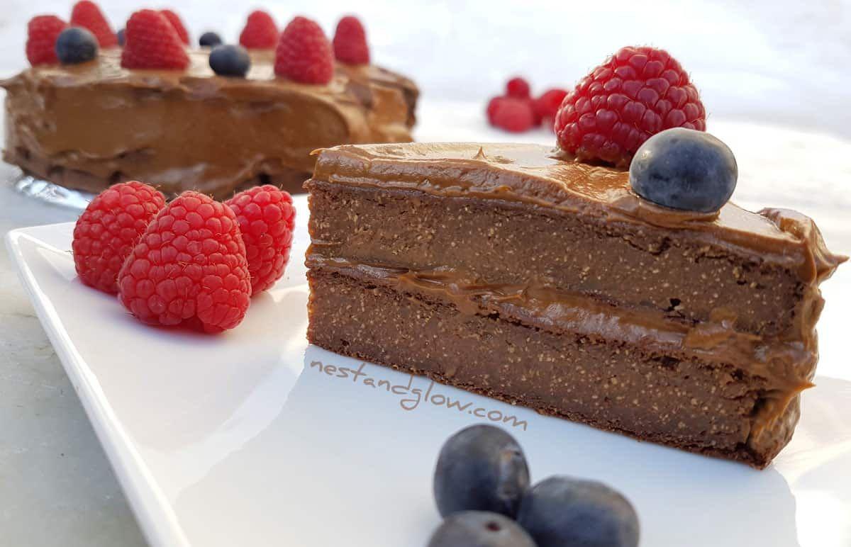 Vegan Healthy Quinoa Chocolate Cake - flour and egg free with a chocolate avocado frosting