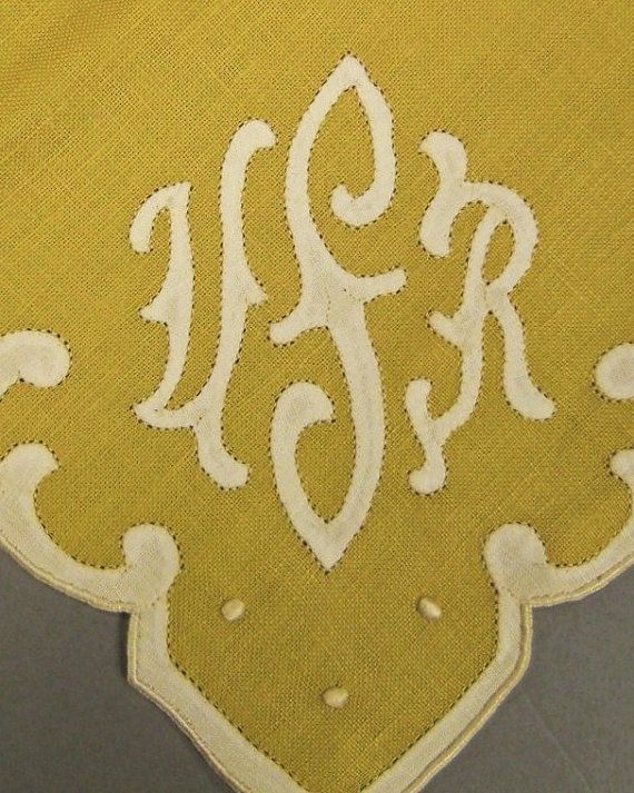 Set 12 Madeira Linen Yellow Color Embroidered White