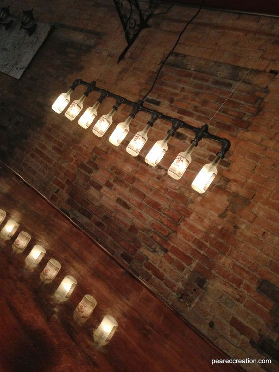 Industrial Style Bottle Lamp  Jim Beam by newwineoldbottles, Garage with an industrial Style. The trend for 2015. Get ideas to optimize your space. Keek it cool and trendy. Greys, brouns, cooper, and industrial textures. see more tips at : www.homedesignideas.eu