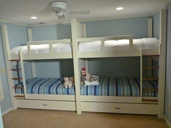 Quad Bunks Against One Wall Diy Bunk Bed Cool Bunk Beds Bunk