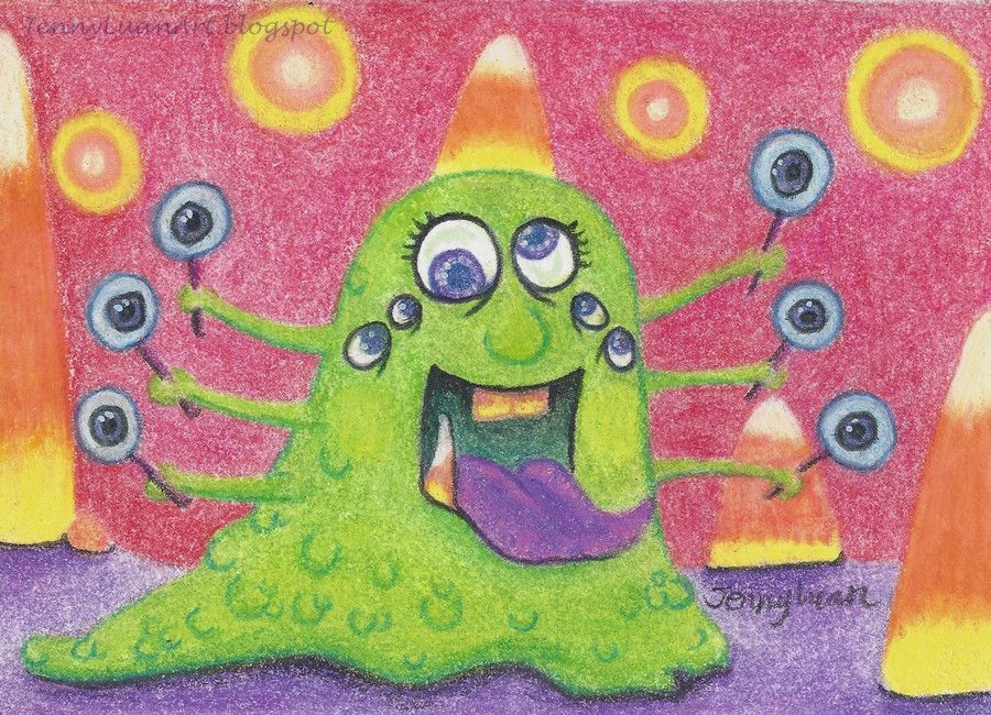 ACEO Original cute candy corn monster drawing TW OCT P4PMJFF by Jenny Luan #Realism