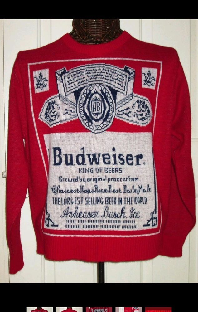 Budweiser Beer Label Lancaster Crewneck Sweater L Red #Budweiser ...