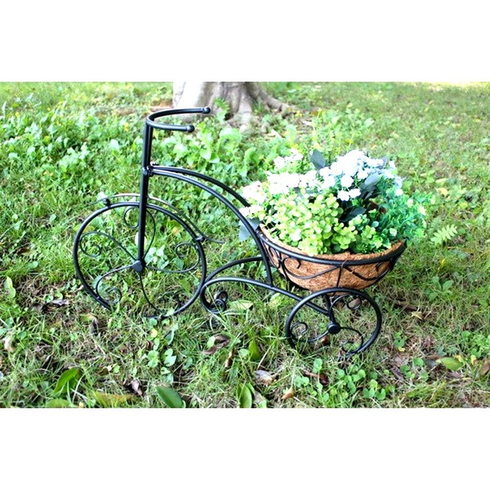 Metal plant stand-tricycle with planter home yard garden decor free ...