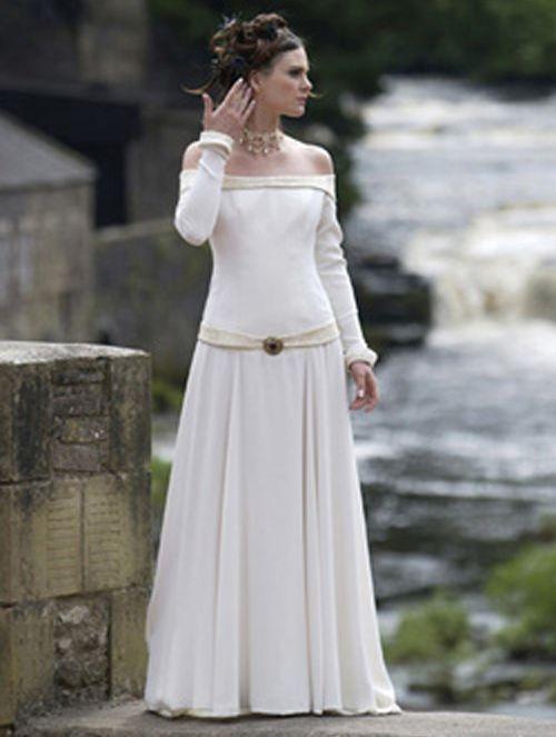 a979b8dc2537 Ivory Off-the-Shoulder Celtic Medieval Wedding Dress--lace collar & belt,  chiffon overskirt, satin body & slim skirt