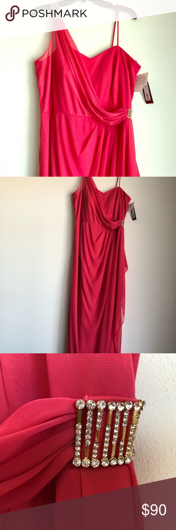 Coral one shoulder evening gown prom dress nwt my posh picks