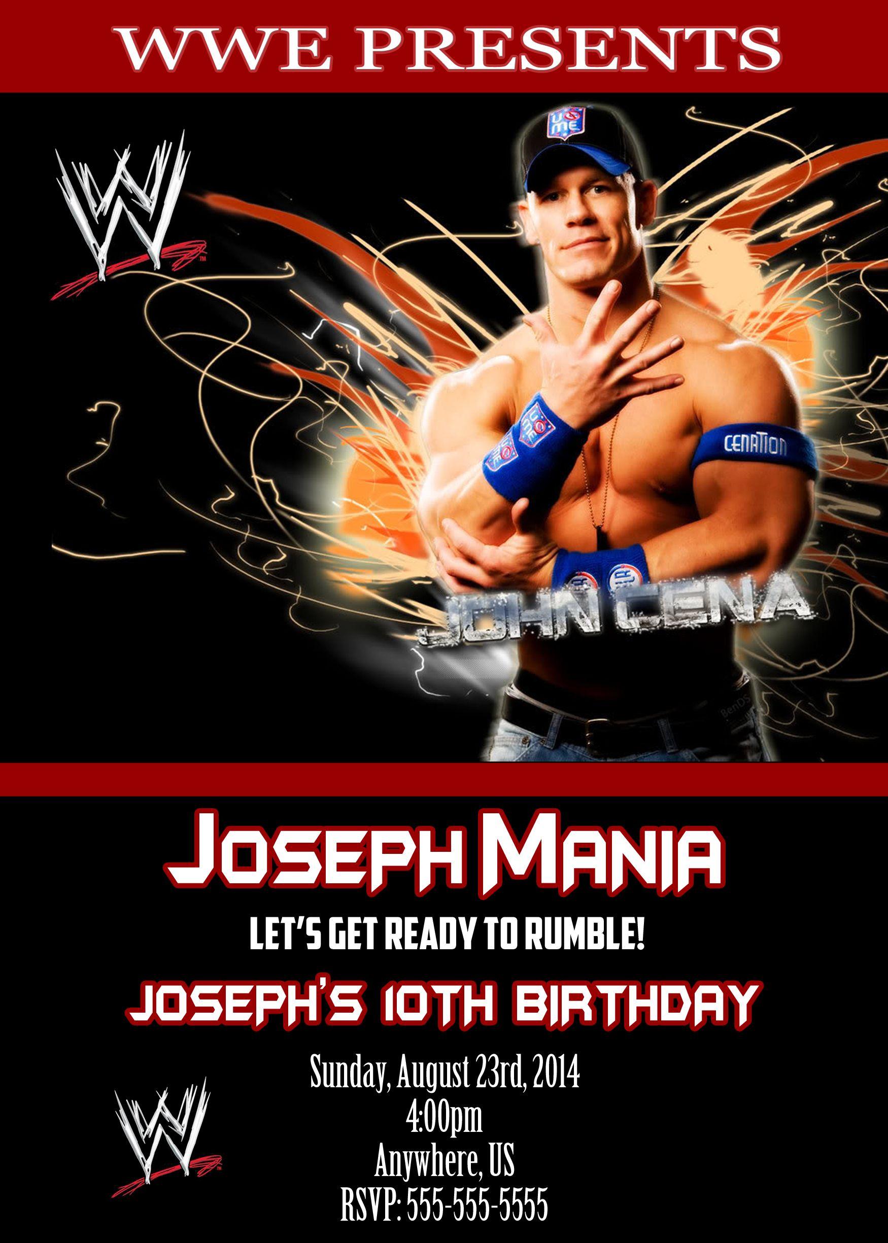 WWE John Cena Birthday Party Invitations 899