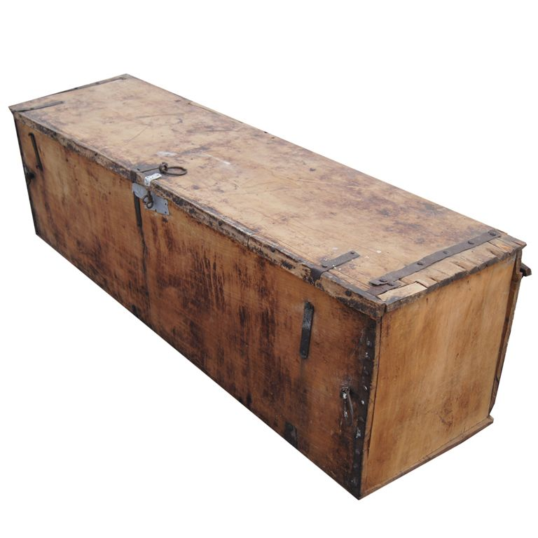 Rustic Long Wooden Moroccan Chest 1stdibs Com Wooden Rustic Wooden Chest