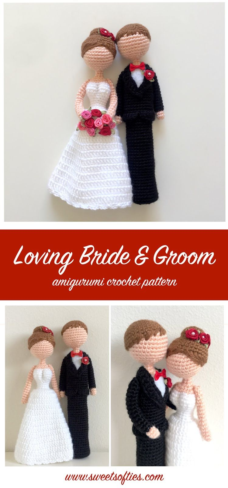 Loving Bride and Groom Wedding Dolls The loving bride and groom amigurumi crochet wedding dolls are perfect as a handmade wedding gift to newlyweds for their marriage! This tall slender couple can easily be customized with their clothing colors and hair colors.