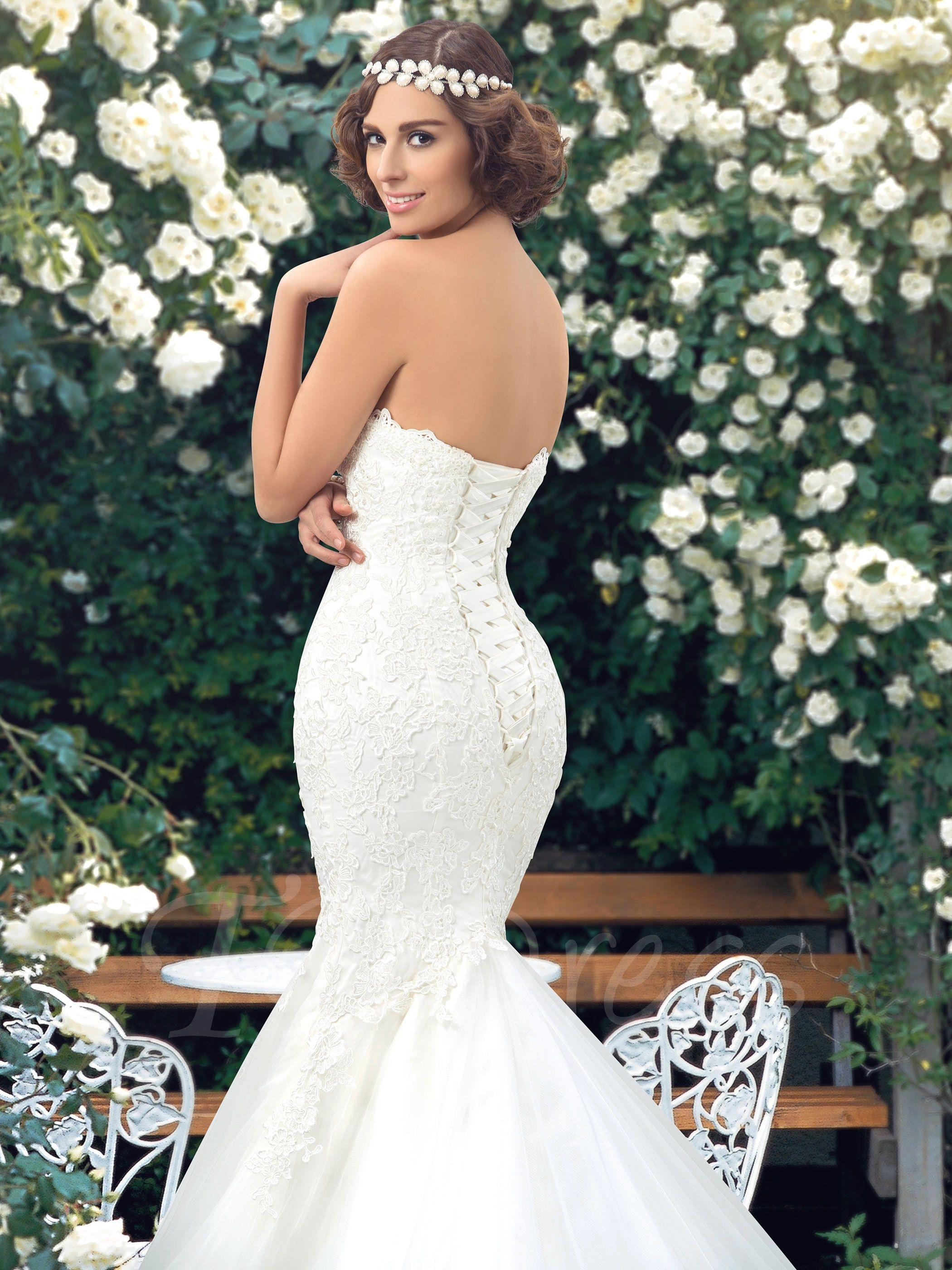 Lace sweetheart wedding dress  Sweetheart Lace Appliques LaceUp Trumpet Wedding Dress with Crystal