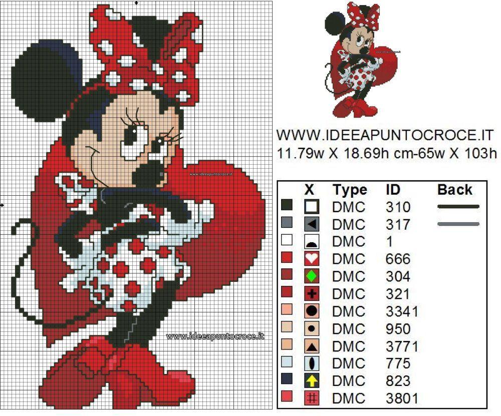 Schema Minnie Punto Croce Counted Cross Stitch Patterns Pinte