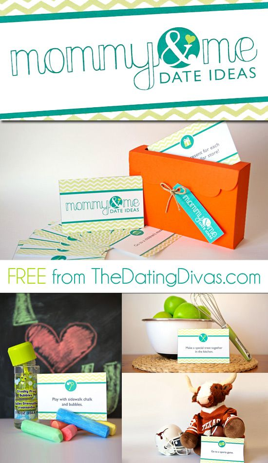 DARLING printables for a Mommy & Me Date Ideas Box.   What a great Mother's Day gift idea.  And you can get the set for FREE.  Click to find out how.  www.TheDatingDivas.com #mothersday #freeprintable #freebie