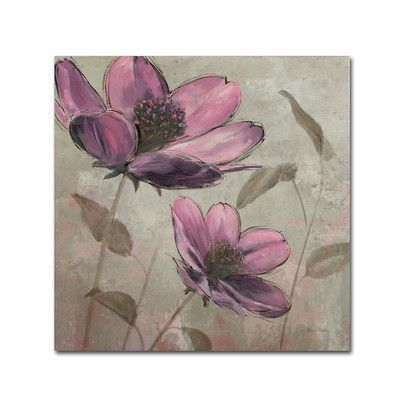 """Trademark Art 'Plum Floral II' by Emily Adams Painting Print on Wrapped Canvas Size: 24"""" H x 24"""" W x 2"""" D"""