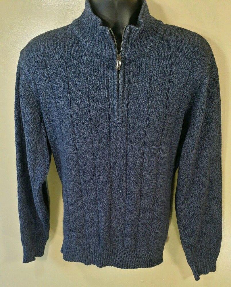 Oscar De La Renta sweater blue cotton blend 1/4 zipper front Sz XL #OscardelaRenta #14Zip