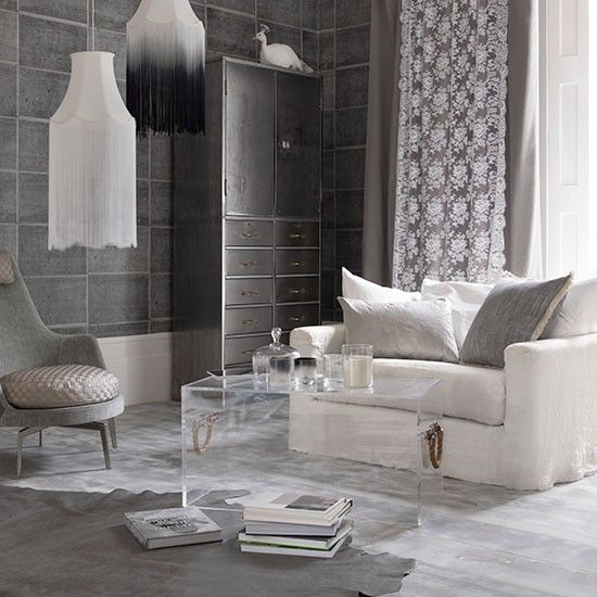 Smoky Grey Living Room With Cupboard