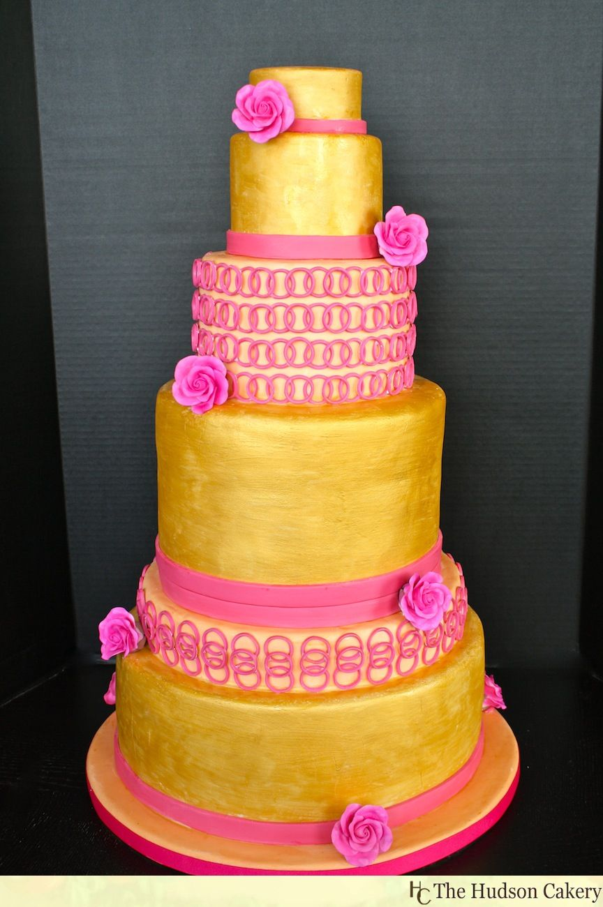 wedding bakeries in sacramento ca%0A Gold and Magenta Tall tiered Wedding Cake  Features tea roses and circle  fondant cut outs