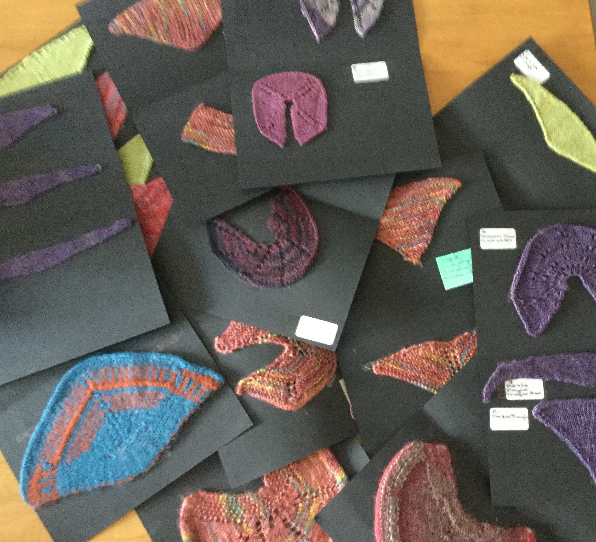 Workshop with Chrissie Day - Shawl shaping – become a better shawl designer  We will take basic shawl shapes and learn the construction techniques before design and pattern and colour  are added. We will look at some  in detail and knit these up in miniature for reference  Patterns provided to take home