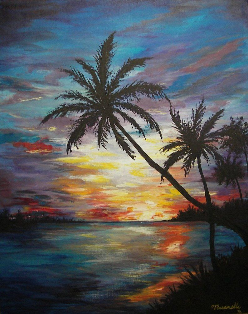 Tropical Sunset Painting By Cust0m On Deviantart Sunset Painting