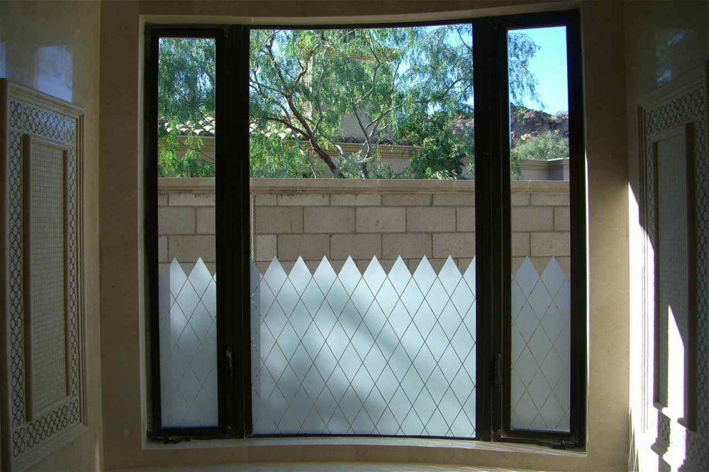 Diamond Grid Pattern Etched Glass Art Frosted Glass Window