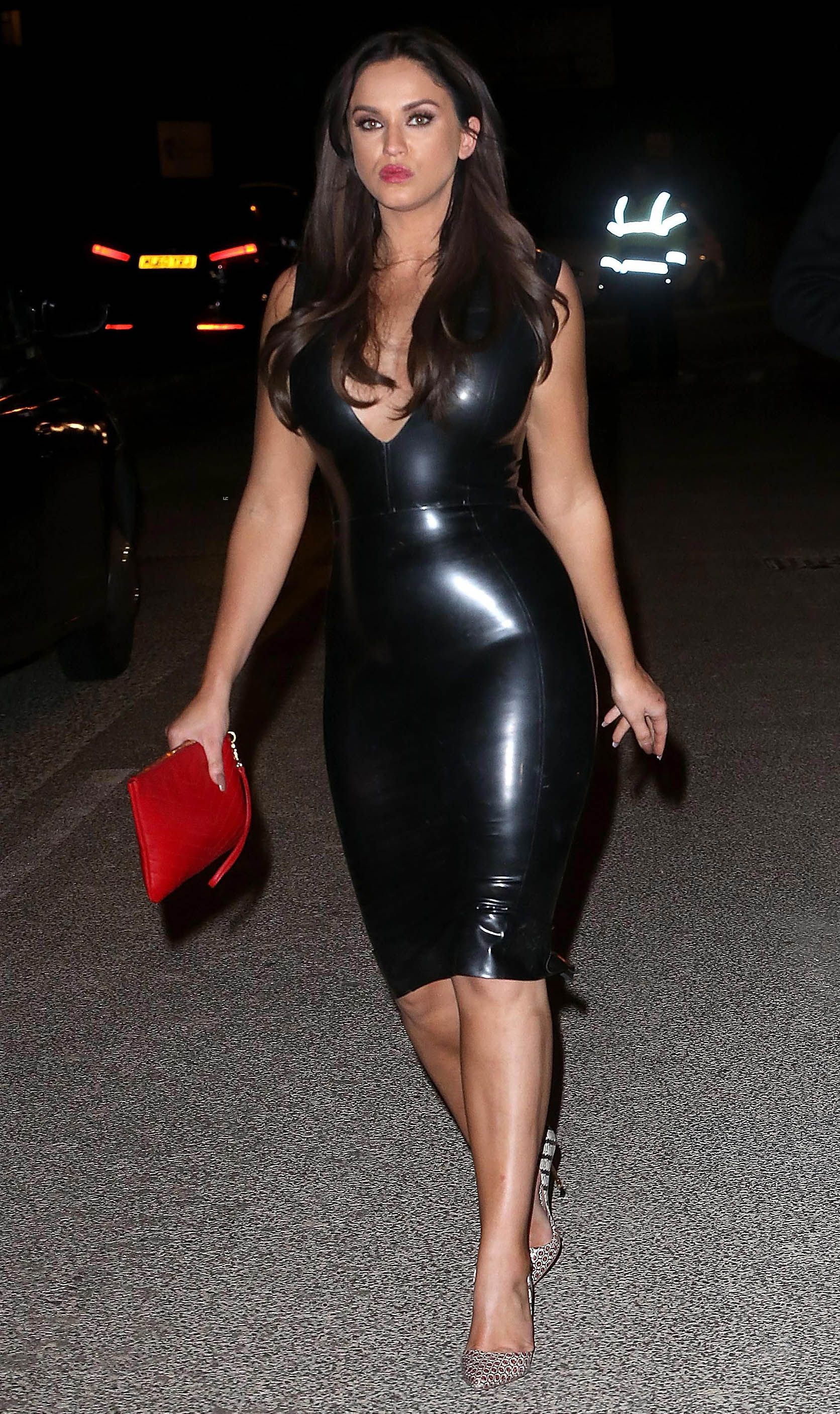 Vicky Pattison leaving Xtra Factor Studios in casual tight black latex dress  Latex Skirt, Latex 962378d72f