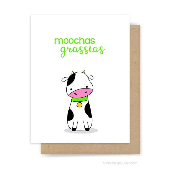 Funny Thank You Card For Friend Her Him Thanks Notes Notecards Cute Fun Cow Pun Birthday Gifts Blank