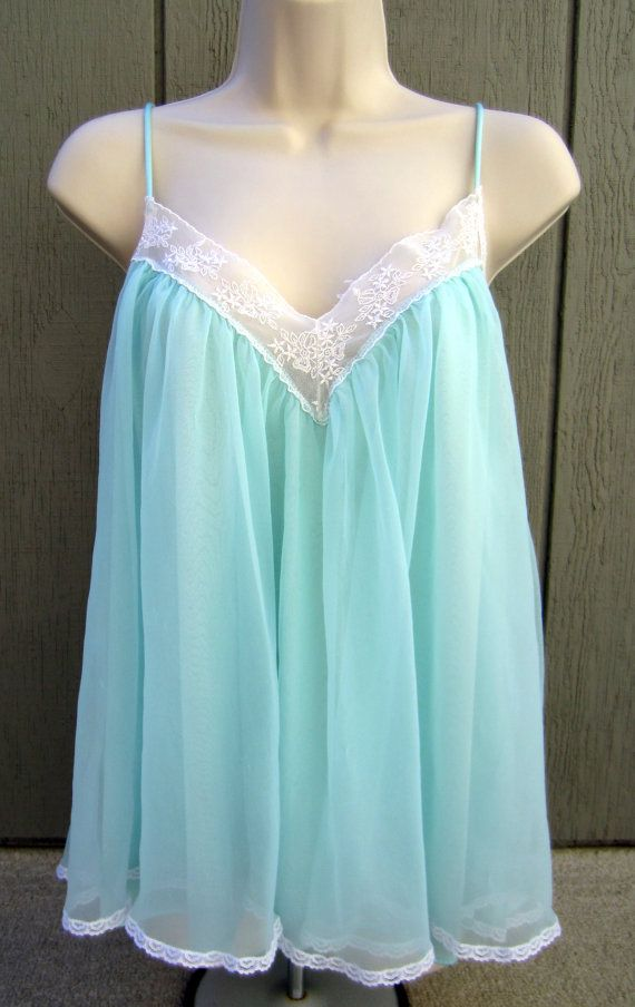 dc53534ab6 Vintage Chiffon Babydoll Nightgown Lingerie by LavaLampVintage