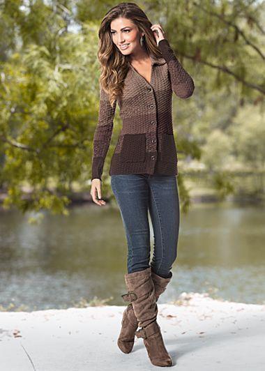 Brown Multi Shades Of Brown Sweater $39 Dark Wash Color Skinny Denim $29 Venus.com