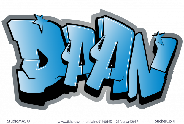 Muursticker Graffiti Met Naam.Muursticker Graffiti Type A Daan Graffiti Muurstickers
