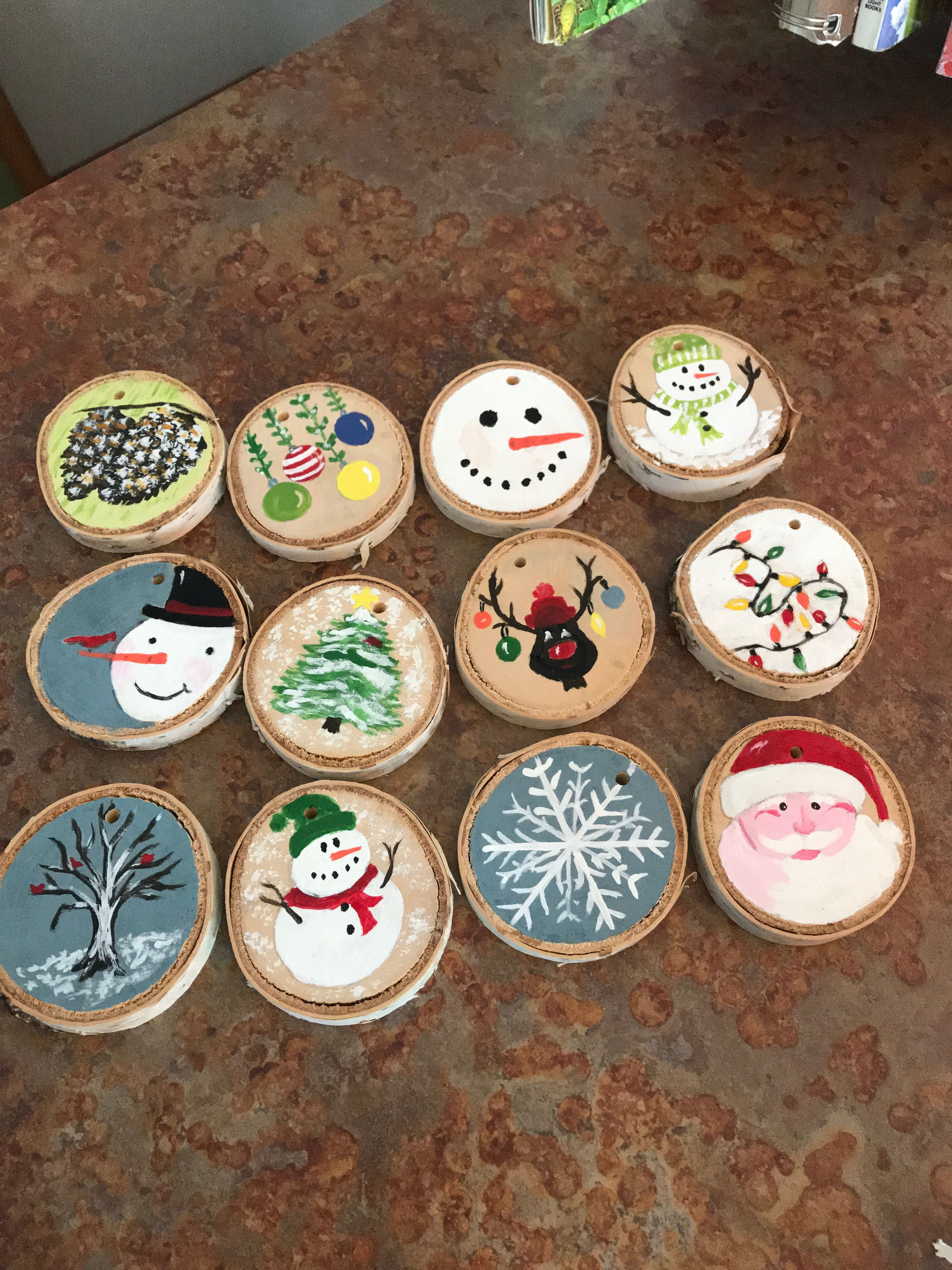 Painted Wood Slices Christmas Crafts Christmas Ornament Crafts Christmas Ornaments Homemade