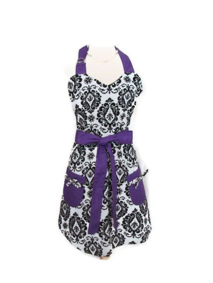 Aprons for Women Black and White Damask Reversible Apron ...