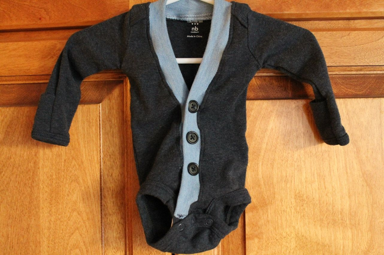 Baby Boy Cardigan Onesie ONLY  Newborn & 6 month by BeesBabyTs, $25.00