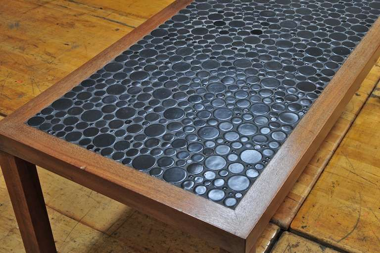 Glazed Black Moon Mosaic Tile Mosaic Coffee Table Glass Kitchen