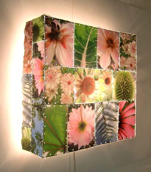 Customize   Lámparas de pared - Lámpara de pared, mosaic Flor, rosa, verde unico - hecho a mano por DutchLights to DaWanda