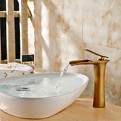 Antique Brass Vessel One Hole Waterfall Bathroom Sink Faucet With