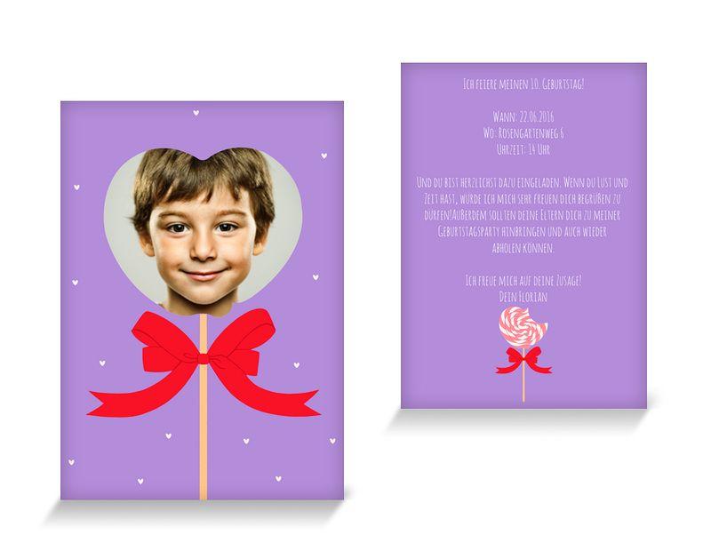 Love candy Einladungskarten Kindergeburtstag